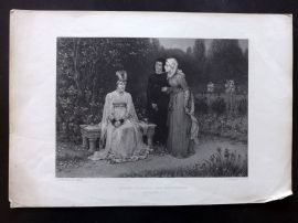 Sherratt after Boughton C1870 Antique Print. Queen Isabella and her Ladies